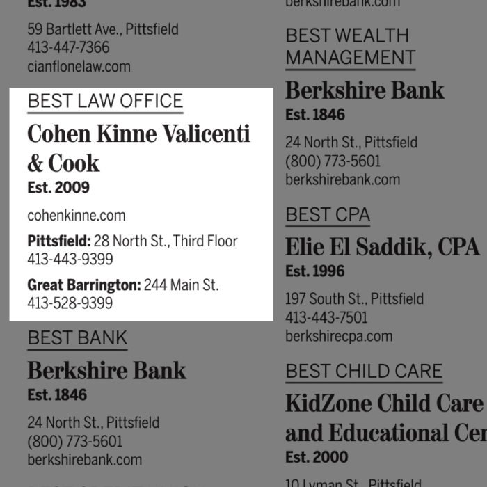Cohen Kinne Voted Best Law Firm In The Berkshires